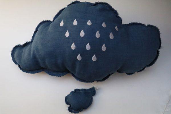 Cazamarmaille coussin musical nuage bleu et argent