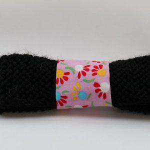 Cazamarmaille-barrette-cocoon-noir-et-rose-à-fleurs-recto