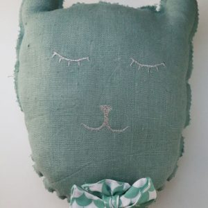 Cazamarmaille-coussin-musical-chat-ecaille-vert-recto