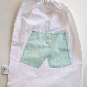 Cazamarmaille-sac-sous-vetement-garcon-turquoise-pois-blancs